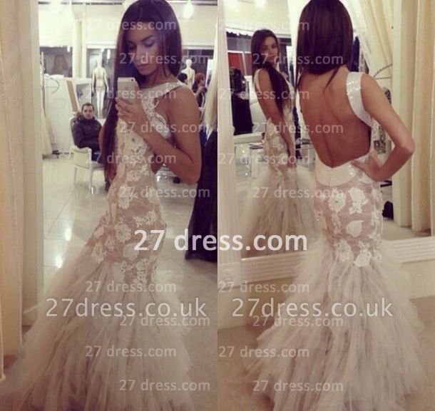 Vestido De Fiesta mermaid Prom gowns long Sleeveless Open Back Party Dress UK with Tulle Lace Appliques Sequined Tulle