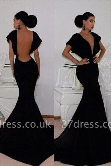 Elegant V-neck Black Mermaid Prom Dress UK Open Back
