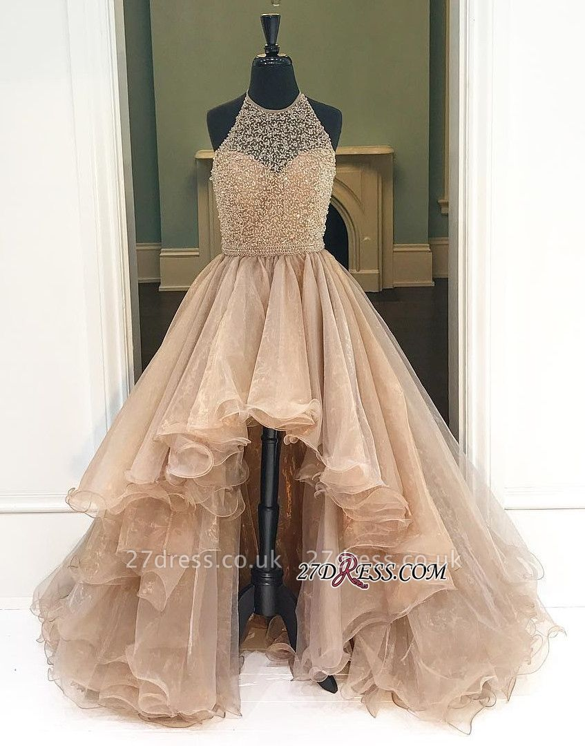 A-Line Halter Beading Low Prom Brilliant Dress UKes UK Tulle High Evening Dress UKes UK