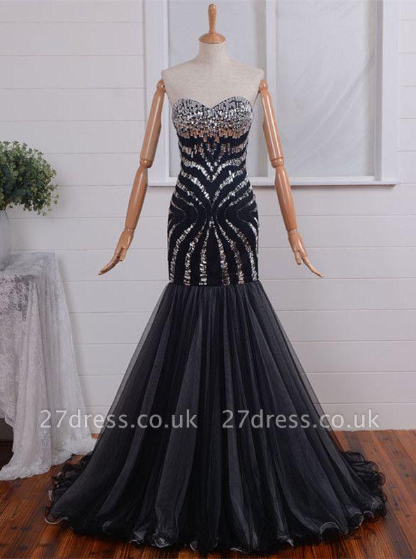 Elegant Sweetheart Mermaid Prom Dress UK Long With Crystals
