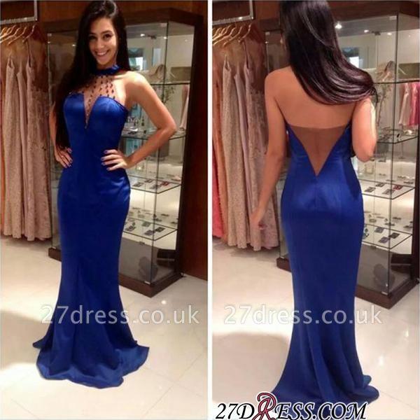Open-Back Mermaid Blue High-Neck Sleeveless Long Evening Dress UKes UK