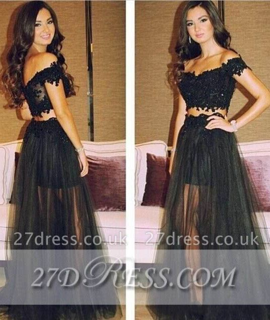Separated Black Lace Prom Gowns Off-the-Shoulder A-Line Tulle Evening Dress UKes UK