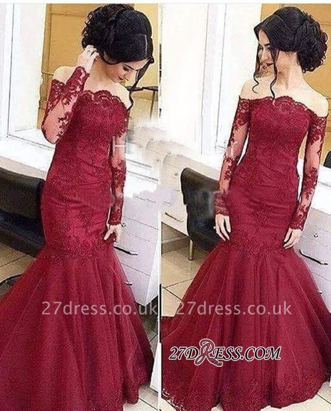 Mermaid Burgundy Long-Sleeve Tulle Amazing Lace Off-The-Shoulder Prom Dress UKes UK