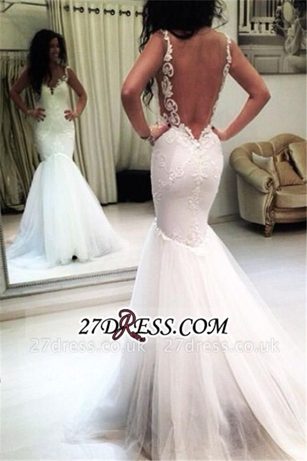 Sexy Mermaid  Sleeveless Tulle Appliques Open-Back Wedding Dresses UK BA3788