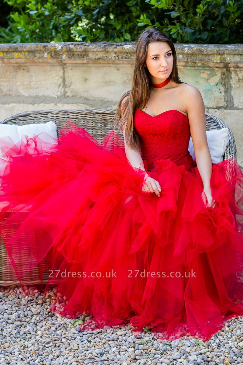 Sleeveless Red Strapless Flowers Tulle Ruched Lace Wedding Dress
