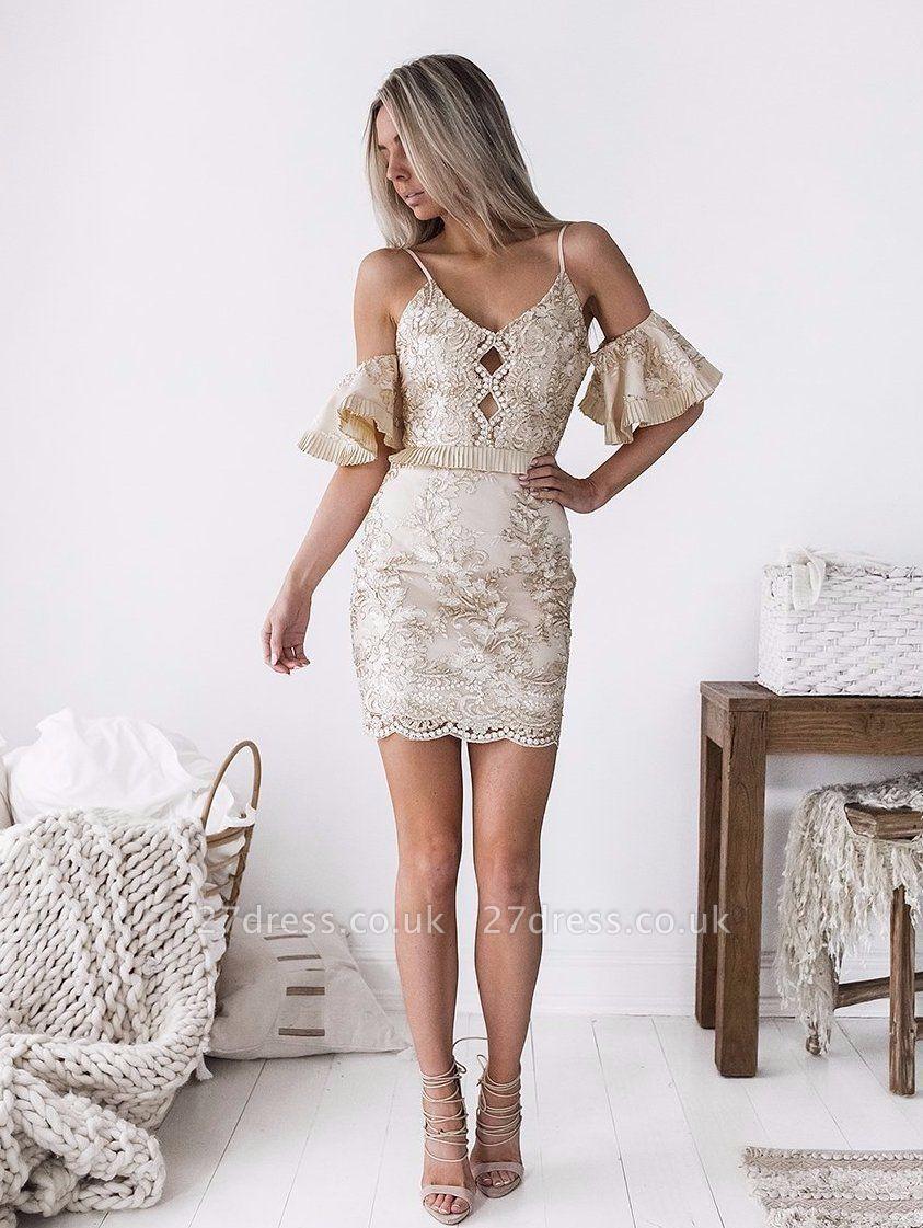 Chic Spaghetti-Straps Short Homecoming Dress UK | 2019 Sheath Lace Party Dress UK
