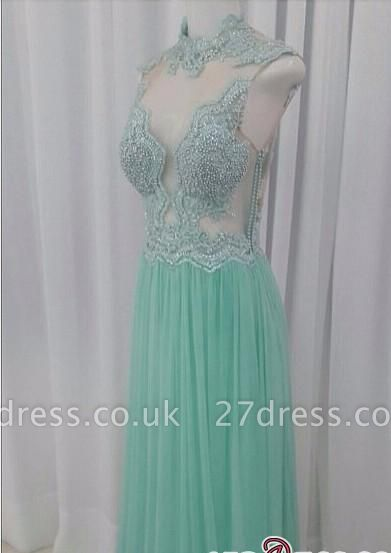 A-line Lace Floor-length High-neck Pearls Chic Evening Dress UK
