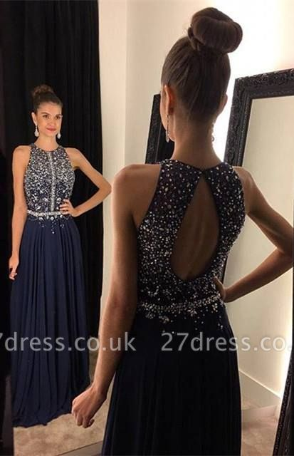Sparkly Navy Blue Sleeveless Prom Dress UKes UK Long Chiffon Beadings AP0