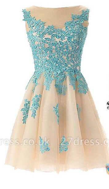 Lovely Illusion Cap Sleeve Short Homecoming Dress UK With Lace Appliques