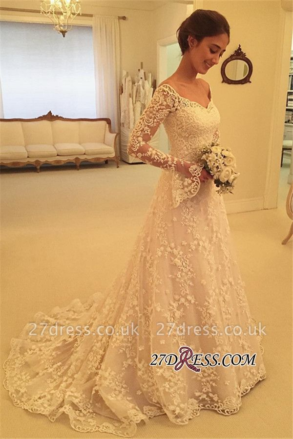 Off-the-Shoulder Long-Sleeves Appliques A-Line Buttons Lace Wedding Dresses UK