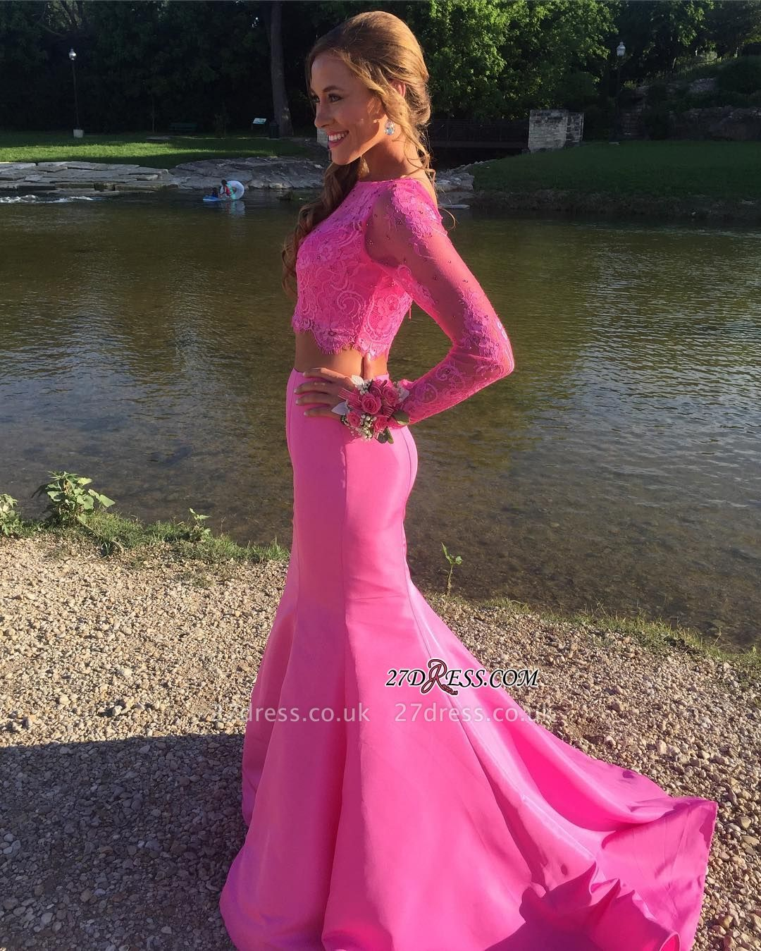 Mermaid Cute Two-Piece Long-sleeve Lace Prom Dress UK