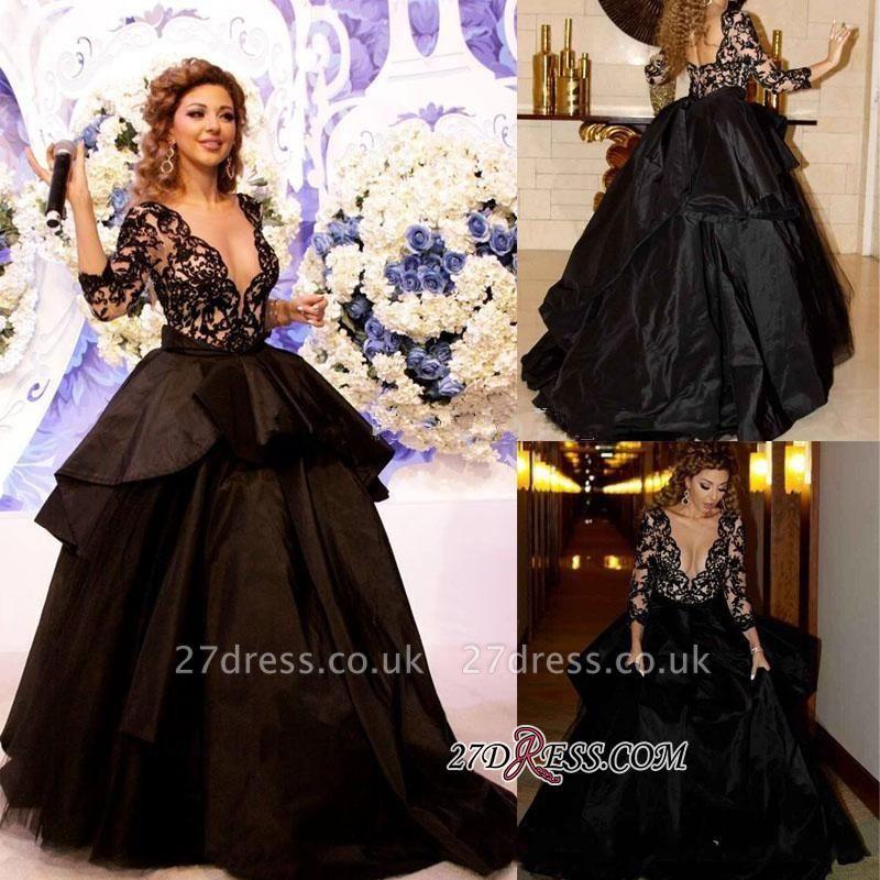 Deep-V-Neck Lace Sleeves Elegant Open-Back Black Prom Dress UK