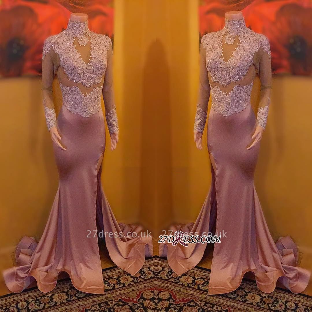 Sexy High-Neck Evening Gowns   Long Sleeve Prom Dress UK On Sale