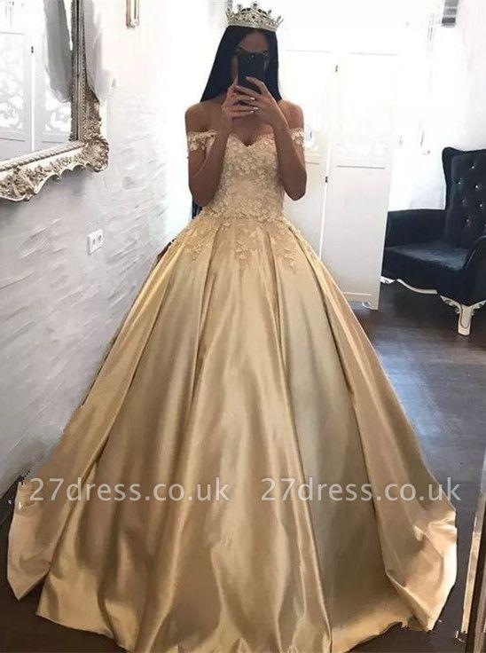 Gorgeous Off-the-Shoulder Appliques Princess Evening Dress UK Long Floor Length Party Dress UK BA7571