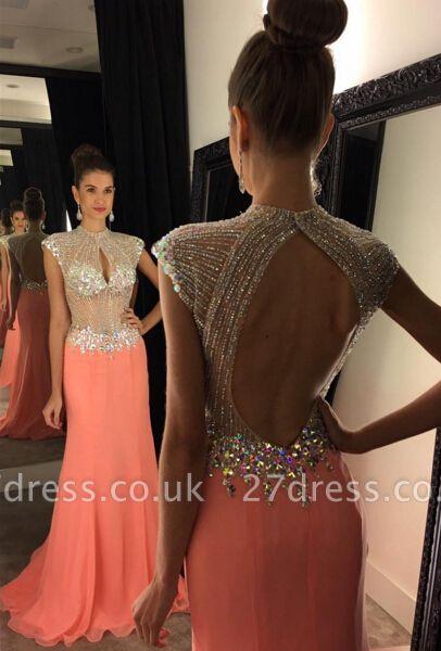 Modern Cap Sleeve Evening Dress UK Long Crystal Sequins Party Gown AP0 BA7559