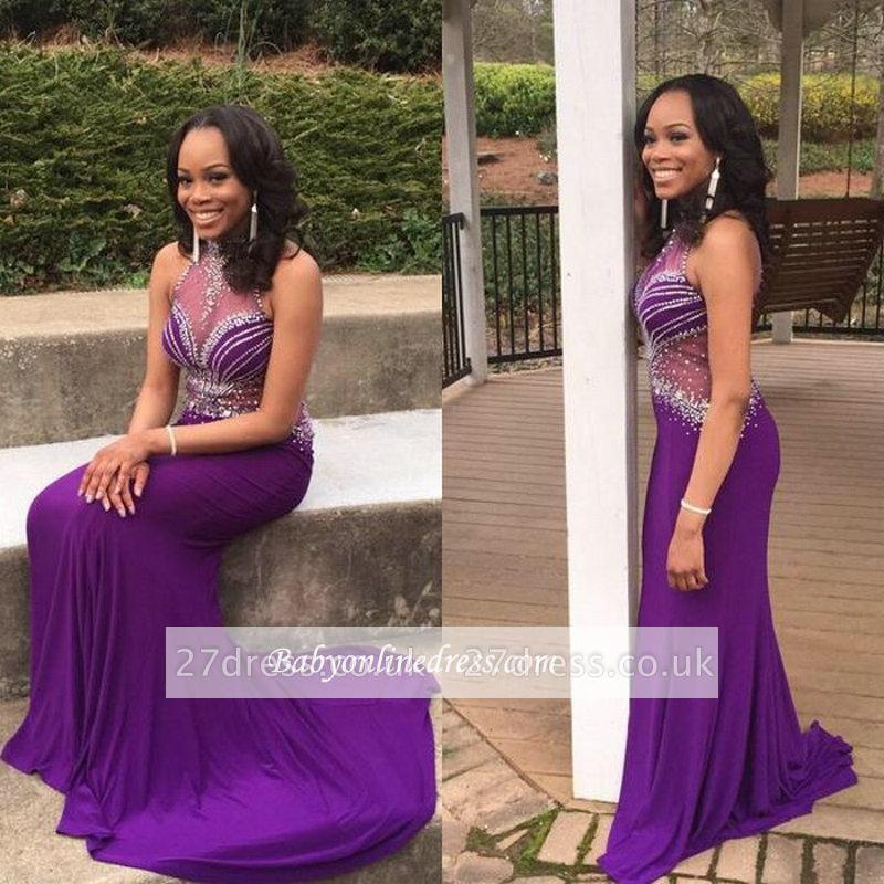 Mermaid Gorgeous Crystal Grape Sleeveless Halter Prom Dress UK BA5239