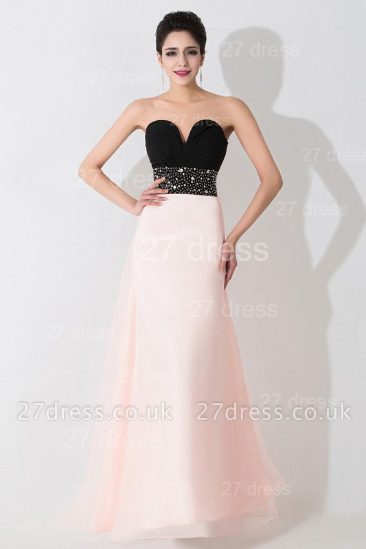 Luxury Sweetheart Beadings Prom Dress UK Long Chiffon Pink