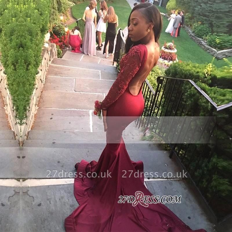 Long-Sleeve Appliques Burgundy Mermaid Sweep-Train Stunning Prom Dress UK BK0