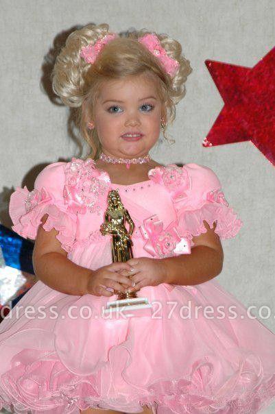 Lovely Short Pink Flower Girl Dress With Ruffles Flowers