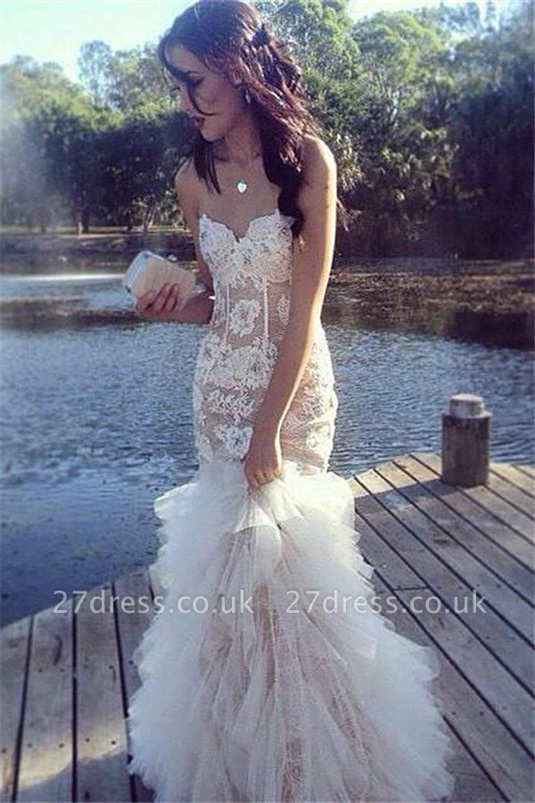 Stunning Sweetheart Mermaid Evening Dress UK Lace Tulle Floor Length