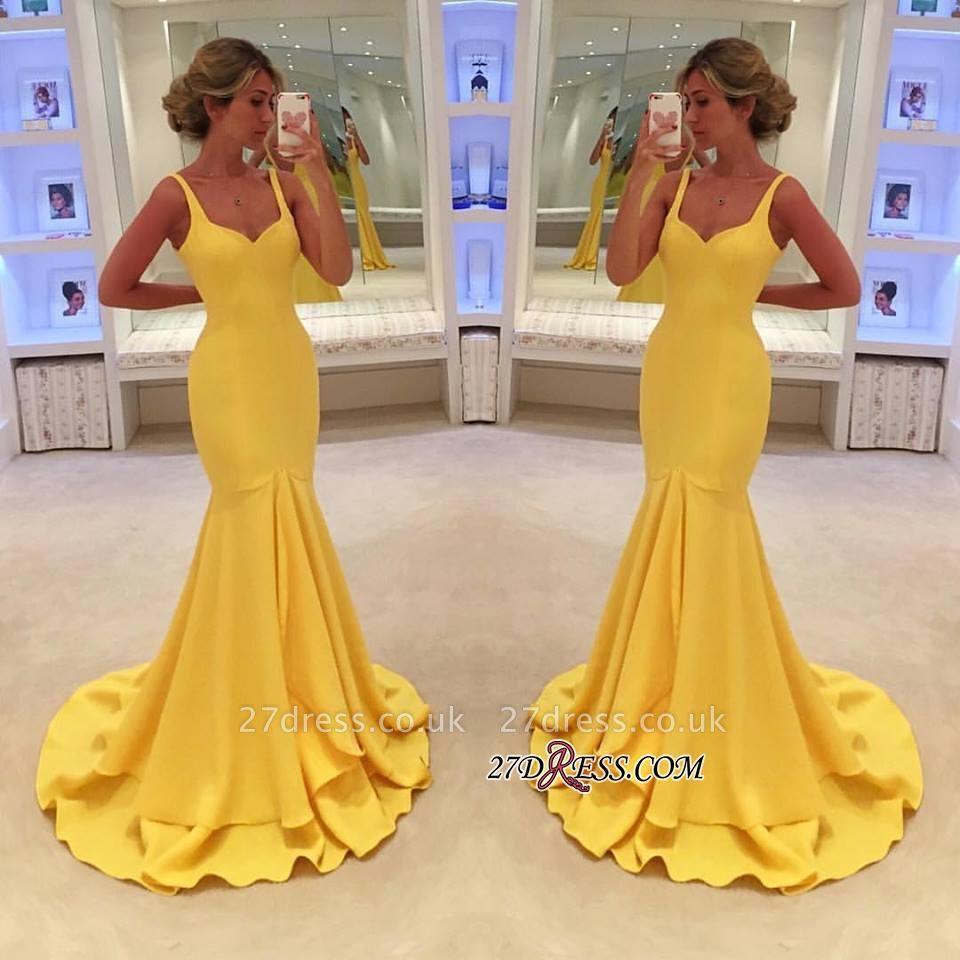 Yellow Simple Spaghetti-Straps Mermaid Prom Dress UK BA4070