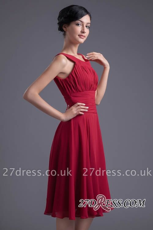 Luxury Chiffon Ruched Zipper Short Scoop Bridesmaid Dress UK