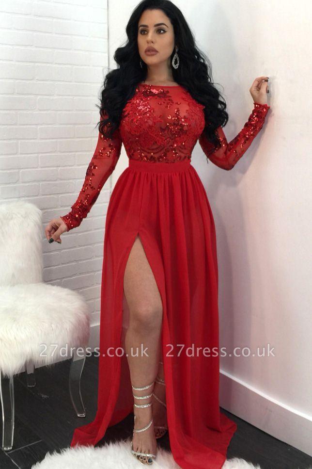 Long Sleeves Appliques Prom Dress UKes UK Open Back Side Slit Sequined Evening Dress UK SK0181