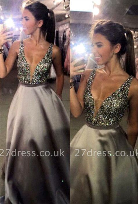 Newest Crystal Straps Prom Dress UK A-line Sweep Train