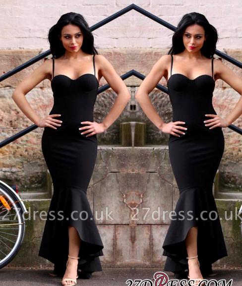 Mermaid Sweetheart Straps Spaghetti High-Low Black Women Dress UK