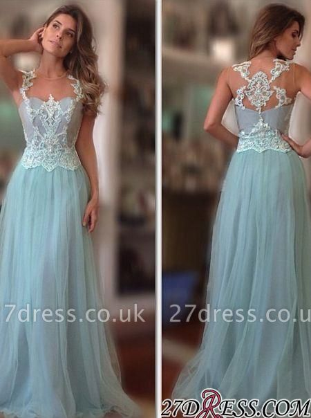 A-Line Long Sleeveless Tulle Lace-Applique Sexy Prom Dress UKes UK