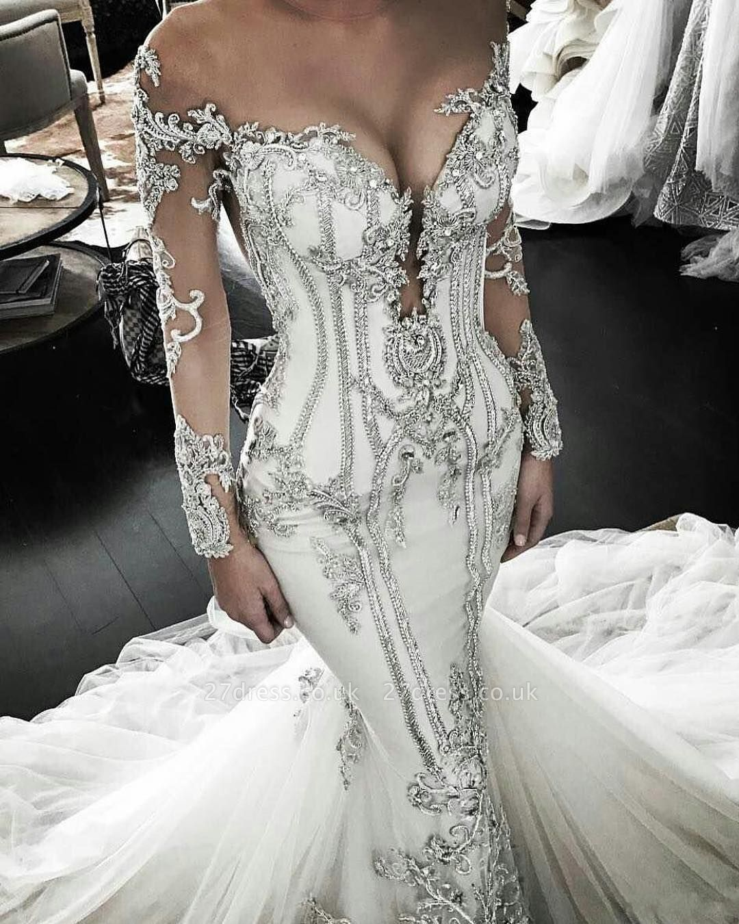 Vintage Appliques Sexy Mermaid Wedding Dresses UK Off-the-Shoulder Long Sleeves Bridal Gowns