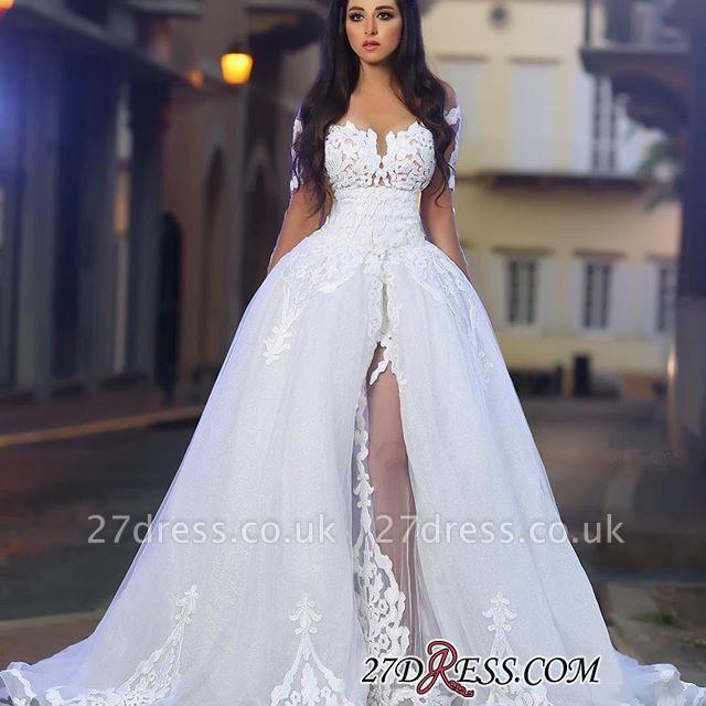 A-Line Appliques Long-Sleeves White Elegant Tulle Wedding Dresss