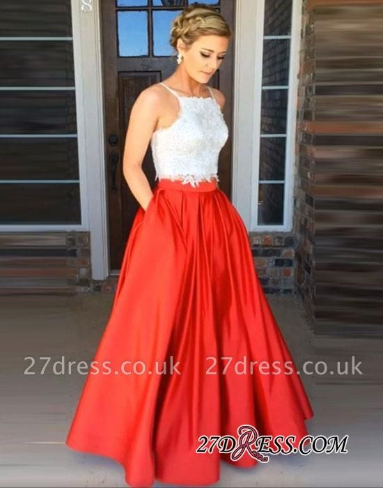 Sexy Two-Pieces Floor-Length Sleeveless Lace A-Line Prom Dress UK
