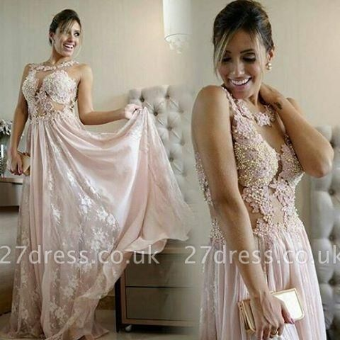 Pearl Scoop Lace Floor-length Pink A-line Evening Gown