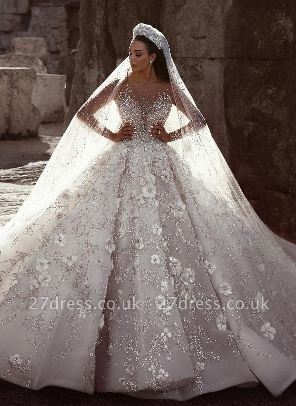 Glamorous Beads Floral Bridal Gowns Sheer Cheap Neck Long Sleeves Ball Gown Wedding Dresses UK