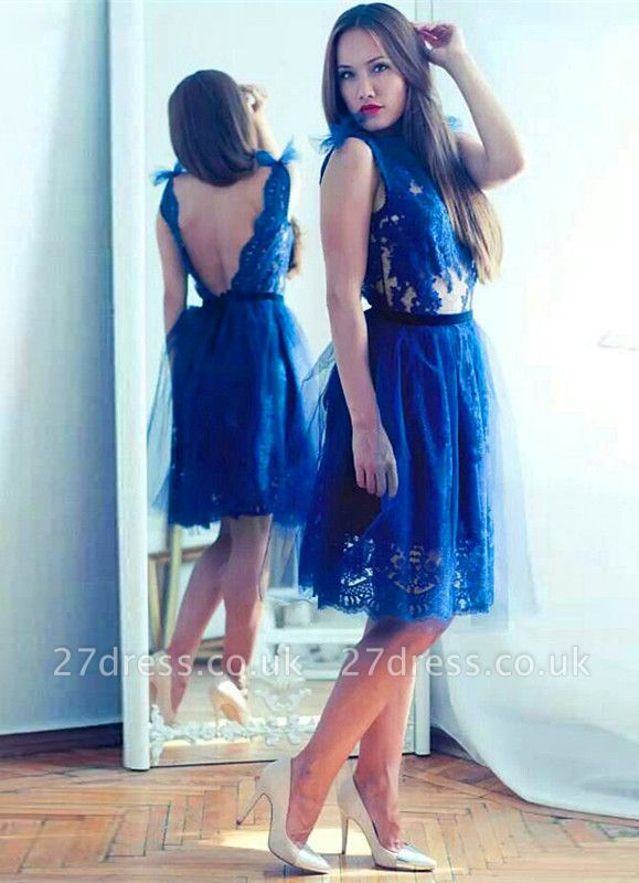 Modest Lace Royal Blue Homecoming Dress UK Tulle Mini Sash