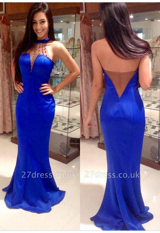 Elegant Halter Beadings Mermaid Prom Dress UK Sleeveless Sweep Train BA5176