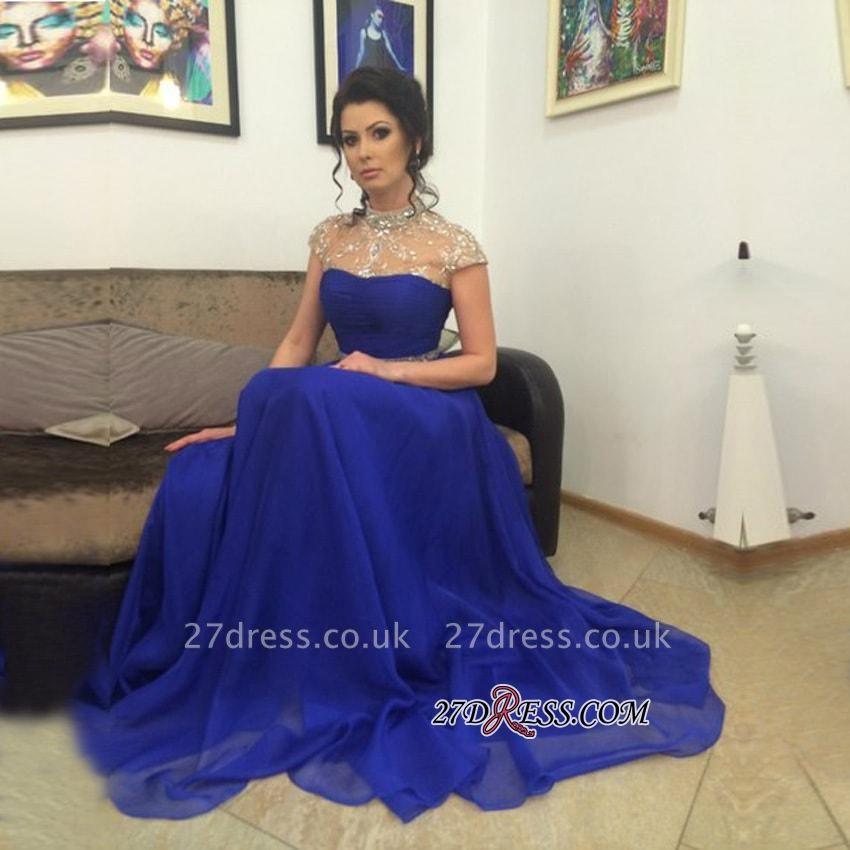 Beadings Royal-Blue Short-Sleeves A-Line High-Neck Prom Dress UK