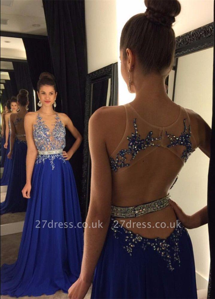 Gorgeous Royal Blue Lace Appliques Prom Dress UK Beadings Chiffon A-line AP0 BA4903