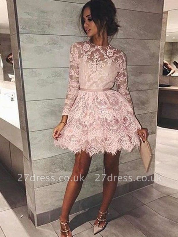 Chic Long Sleeves Homecoming Dress UKes UK | Scoop Pink A-Line Cocktail Dress UKes UK