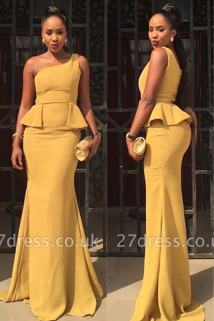 Elegant One Shoulder Mermaid Yellow Prom Dress UK Ruffles Sweep Train