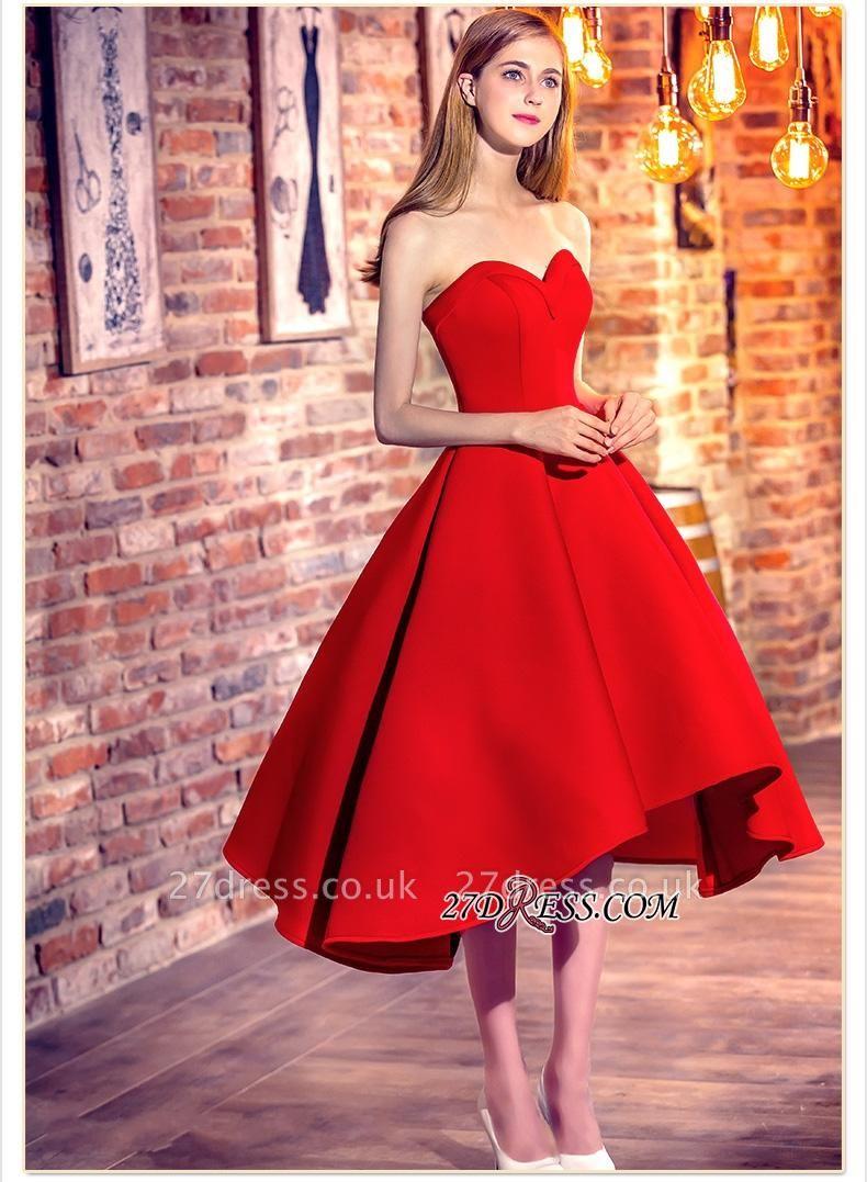 Cocktail-Dress UKes UK Sweetheart-Neck Red Short Hi-Lo Chic Party Dress UKes UK