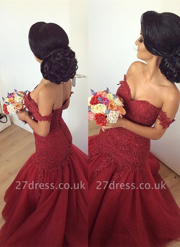 Luxury Off-the-Shoulder Burgundy Prom Dress UK Long Mermaid Lace Party Gowns BA7580