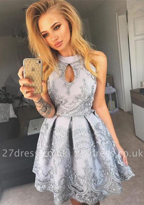 Halter Keyhole Homecoming Dress UK | Short Lace Party Dress UK