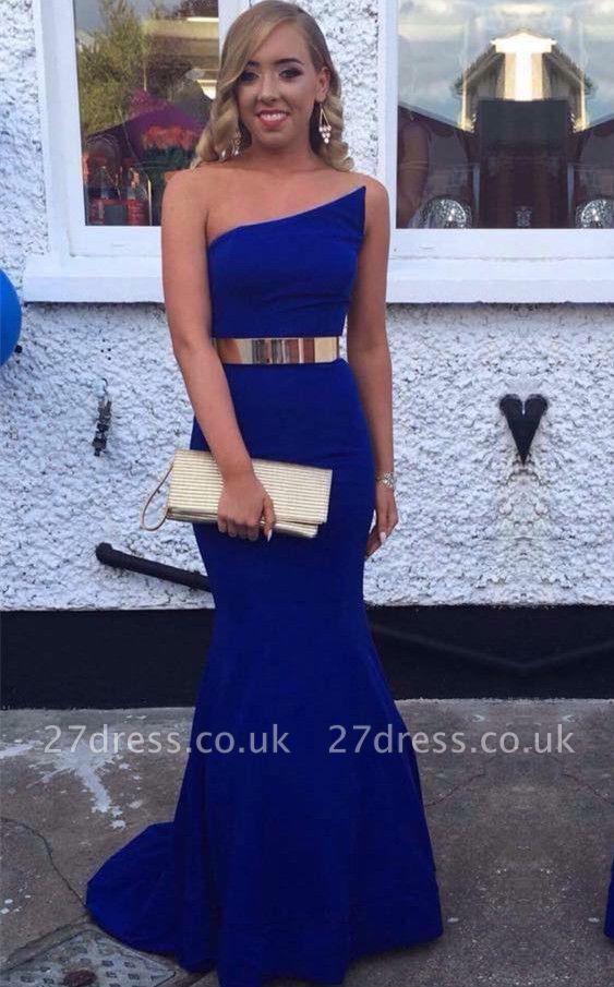 Sexy Royal Blue Mermaid Evening Dress UK With Gold Sash Prom Dress UK BK0