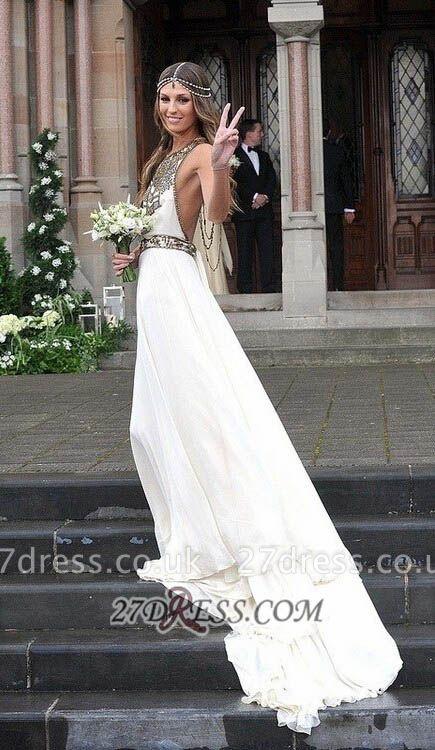 Sexy Halter Sleeveless Chiffon Prom Dress UK With Beadings Floor-length