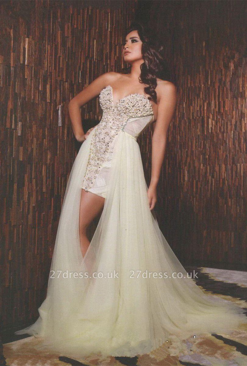 Gorgeous Sweetheart Sleeveless Tulle Prom Dress UK With Beadings