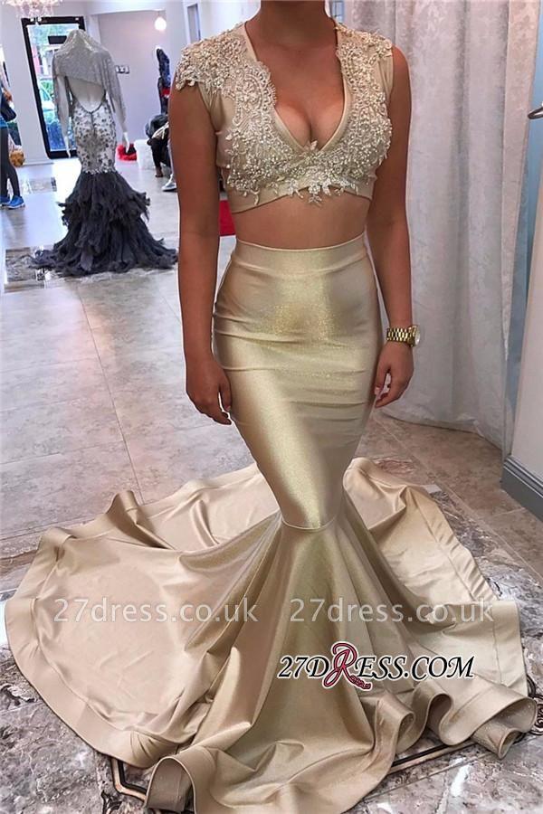 Sleeveless Long-Train Elegant Two-Piece Champagne-Gold Lace Appliques V-neck Mermaid Prom Dress UK JJ0142