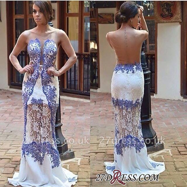 Sweep Scoop Sheath Elegant Lace Train Prom Dress UK