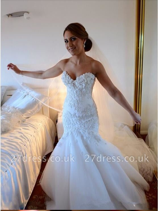 Sexy Mermaid Tulle Appliques Wedding Dress Long Train With Ruffles